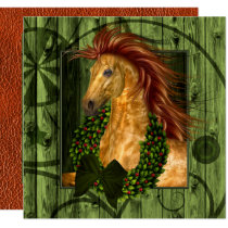 Western Horse with Wreath Stable Cowboy Christmas Card
