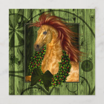 Western Horse with Wreath Stable Cowboy Christmas Holiday Card