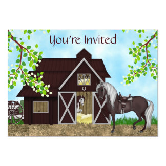 Western Horseback Riding Barn Birthday Invitation