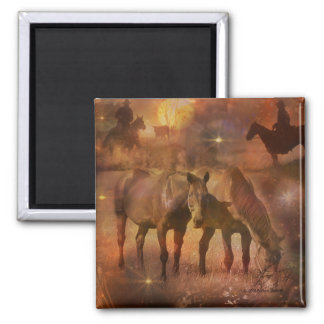 Western Horses Grazing 2 Inch Square Magnet