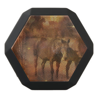 Western Horses Grazing Black Bluetooth Speaker