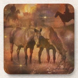 Western Horses Grazing Drink Coaster