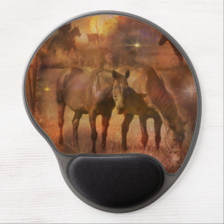 Western Horses Grazing Gel Mouse Pad