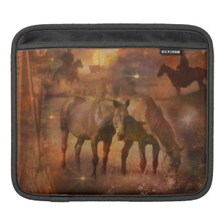 Western Horses Grazing iPad Sleeve