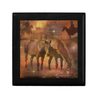 Western Horses Grazing Jewelry Boxes