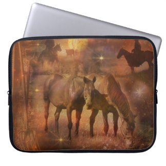 Western Horses Grazing Laptop Sleeve