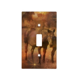 Western Horses Grazing Light Switch Covers