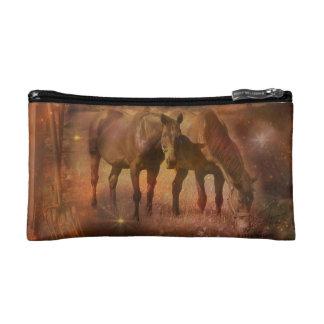 Western Horses Grazing Makeup Bag