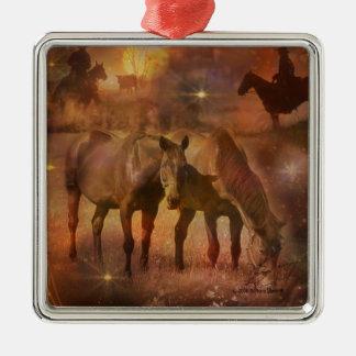 Western Horses Grazing Metal Ornament