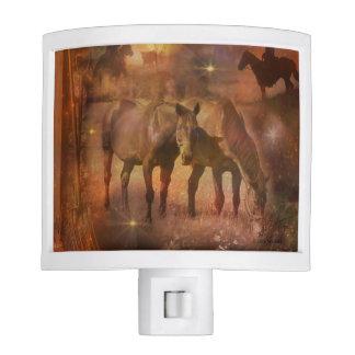 Western Horses Grazing Nite Lights
