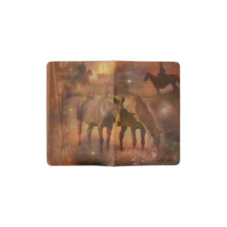 Western Horses Grazing Pocket Moleskine Notebook Cover With Notebook