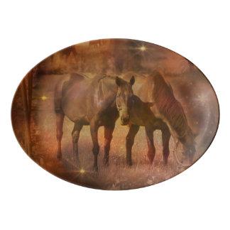 Western Horses Grazing Porcelain Serving Platter