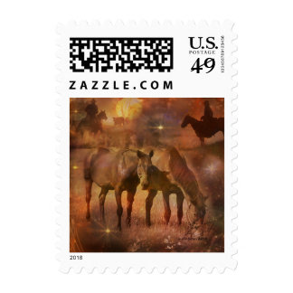 Western Horses Grazing Stamp