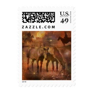 Western Horses Grazing Postage