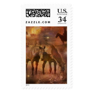 Western Horses Grazing Postage Stamp
