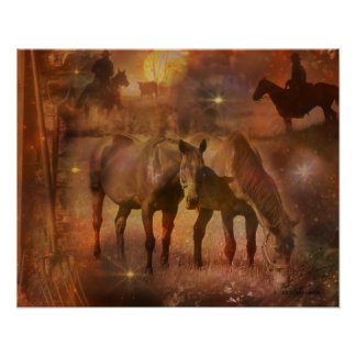 Western Horses Grazing Poster