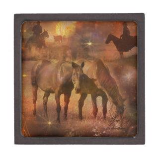 Western Horses Grazing Premium Jewelry Boxes