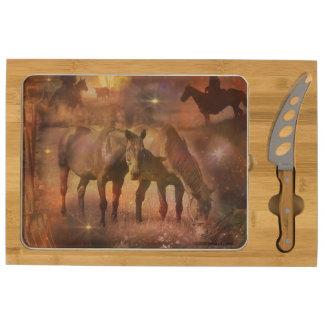 Western Horses Grazing Rectangular Cheeseboard