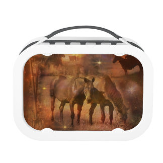 Western Horses Grazing Replacement Plate