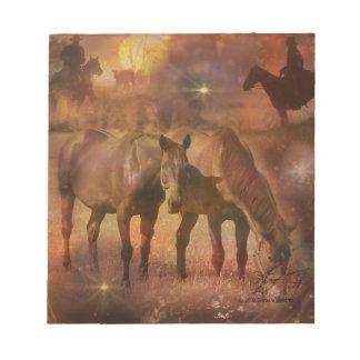 Western Horses Grazing Scratch Pads