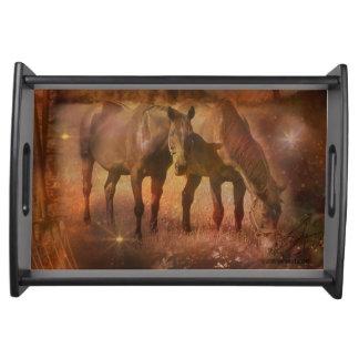 Western Horses Grazing Serving Platter