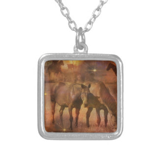 Western Horses Grazing Silver Plated Necklace