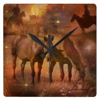Western Horses Grazing Square Wallclocks