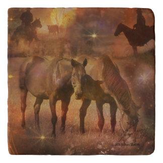 Western Horses Grazing Trivet