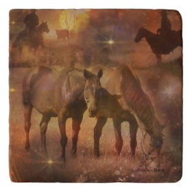 Western Horses Grazing Trivets