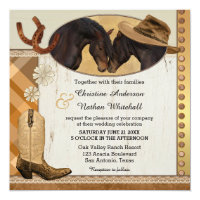 western horses plaid wedding invitation