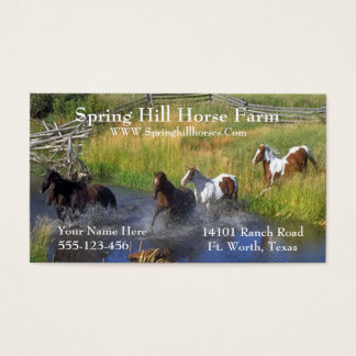 Western Horses Running Through Water Template Business Card