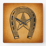 Western Horseshoe with Star Antique Horse Shoe Square Wall Clock