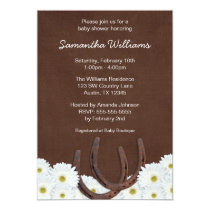 Western Horseshoes and Daisies Baby Shower Card