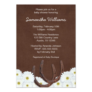 Western Horseshoes and Daisies Baby Shower Personalized Announcement
