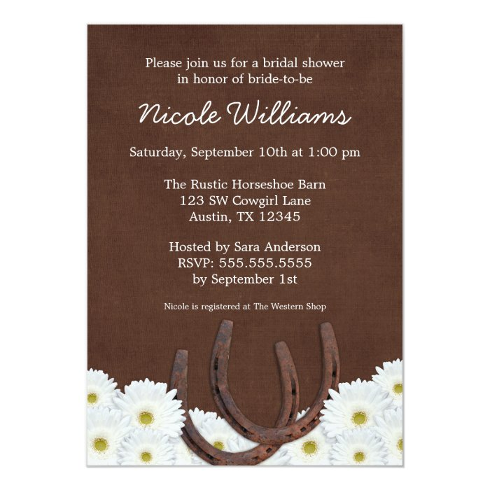 Western Horseshoes and Daisies Bridal Shower Card