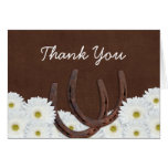 Western Horseshoes and Daisies Thank You Stationery Note Card