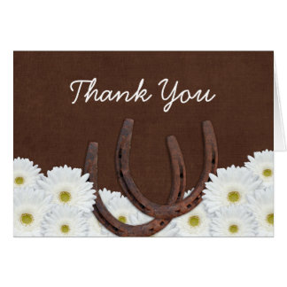 Western Horseshoes and Daisies Thank You Card