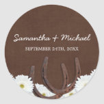 Western Horseshoes and Daisies Wedding Favor Label Round Stickers