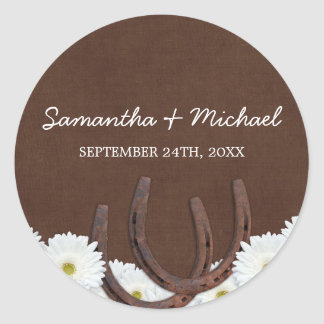 Western Horseshoes and Daisies Wedding Favor Label Classic Round Sticker