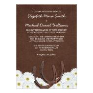 Western Horseshoes and Daisies Wedding Invitation