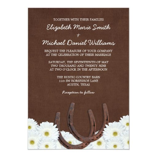 Western Horseshoes and Daisies Wedding 5x7 Paper Invitation Card
