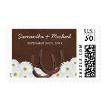Western Horseshoes and Daisies Wedding Postage