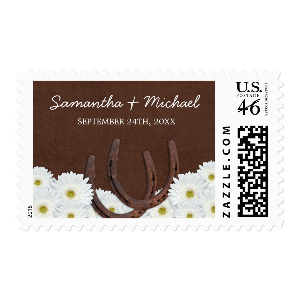 Western Horseshoes and Daisies Wedding Postage Stamp