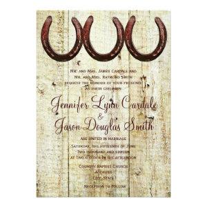 Western Horseshoes Barn Wood Wedding Invitations