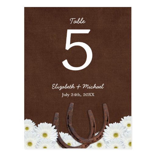 Western Horseshoes Wedding Table Number Postcard