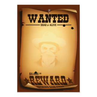 Western Invitations Wanted Poster Stationery