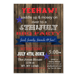 "Western July 4th BBQ Holiday party Invitation 5"" X 7"" Invitation Card"