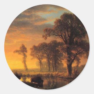 Western Kansas by Albert Bierstadt Classic Round Sticker