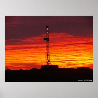 Western Kansas Oilfield Sunrise Poster