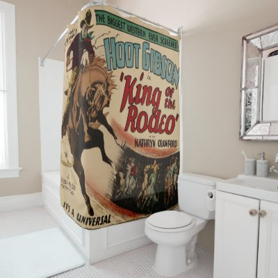 Vintage Western Art Cowboy Roping A Steer Shower Curtain